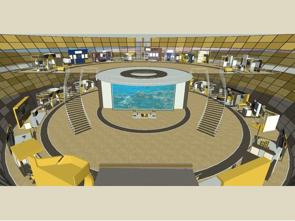 Bild: Blick in die virtuelle Messehalle - Die einzelnen Stände informieren wie eine Website über Leistungen, Produkte und Kompetenzen der Scholderer GmbH.