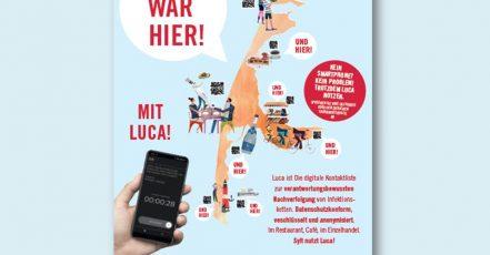 Bild: Plakatmotiv für Betriebe, bei denen man mit der Luca-App einchecken kann (Quelle: https://www.sylt.de/luca)