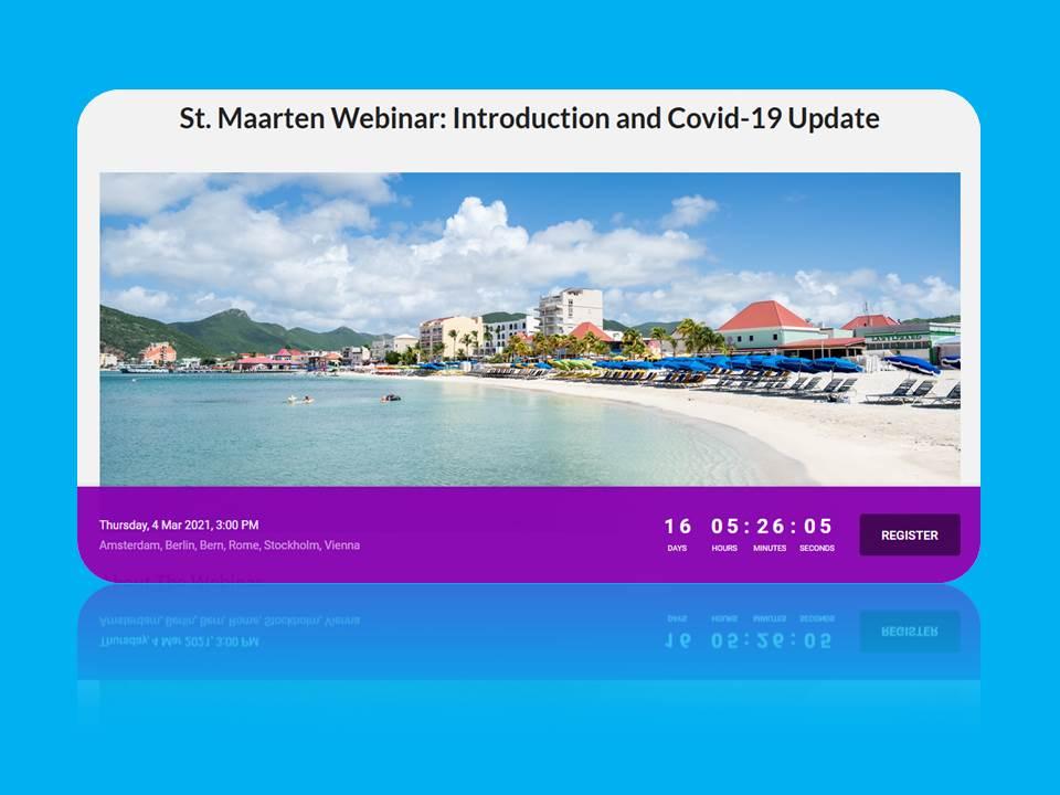"""Webinar statt Messe: Die Registrierungs-Website des Tourist Bureau St. Maarten, auf der man sich als Reisebüro-Mitarbeiter*in für das """"tropische"""" Webinar registrieren kann."""