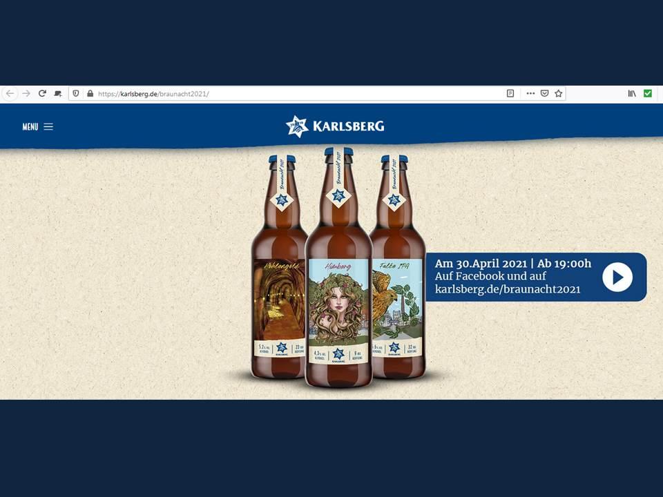 Bild: Screenshot der Digitalen Braunacht 2021 - Website der Karlsberg Brauerei karlsberg.de/braunacht2021