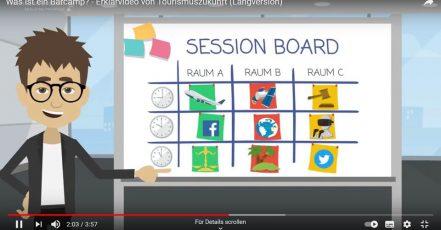 """Bild: Screenshot aus dem Erklär-Video """"Wie funktioniert eigentlich ein BarCamp? (Copyrights: Tourismuszukunft; Quelle: https://www.hsma.de/de/events/barcamps)"""