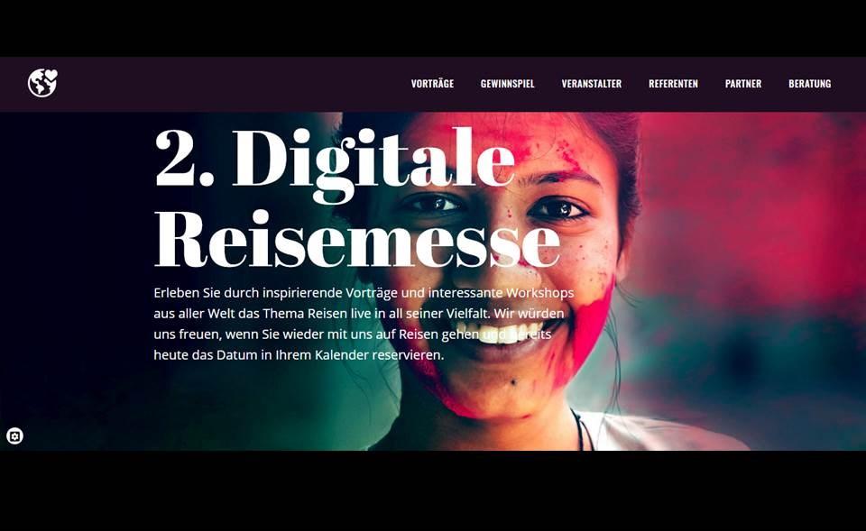 Bild / Screenshot: Die 2. Digitale Reisemesse ist bereits in Planung (Quelle: digitale-reisemesse.de / screenshot v. 16.04.2021)