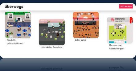 Bild / Screenshot: Verschiedene Anwendungsbeispiele virtuellen Gather-Spaces, die überwegs REMOTE für Firmen und Institutionen umsetzt. (Quelle: https://remote.ueberwegs.de/)